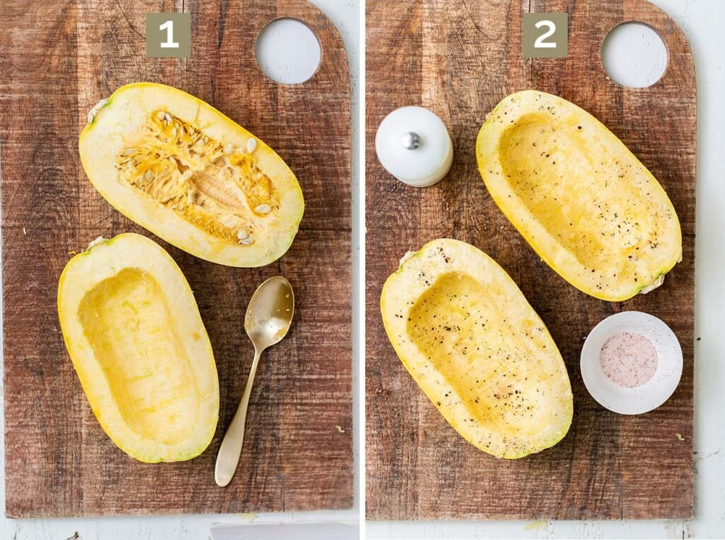 Step 1 shows to remove the seeds from the cut squash, and step 2 shows to season it with oil, salt and pepper.