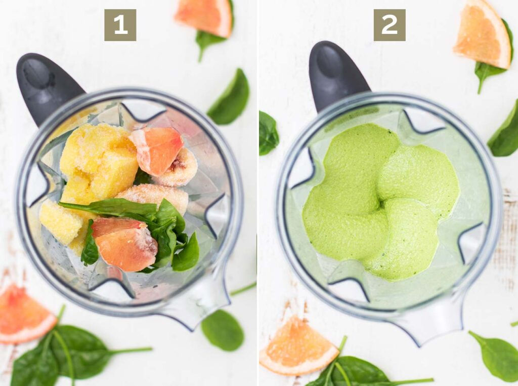 Step 1 shows adding all the ingredients into a blender, and step 2 shows blending it into a creamy consistency.