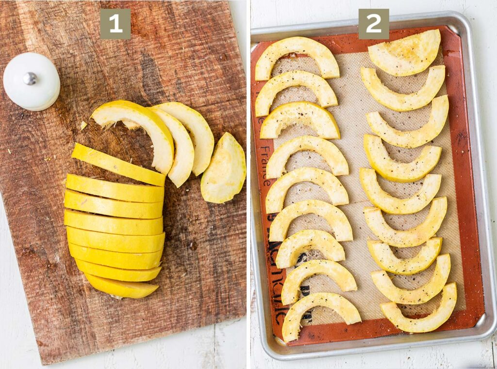 Step 1 shows to cut the squash in thin sections, and step 2 shows to lay them out on a baking tray and season them.