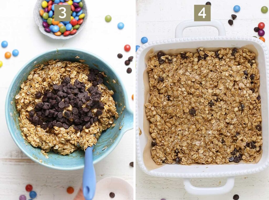 Step 3 shows adding the chocolate chips, and step 4 shows pressing the cookie dough into a baking pan.
