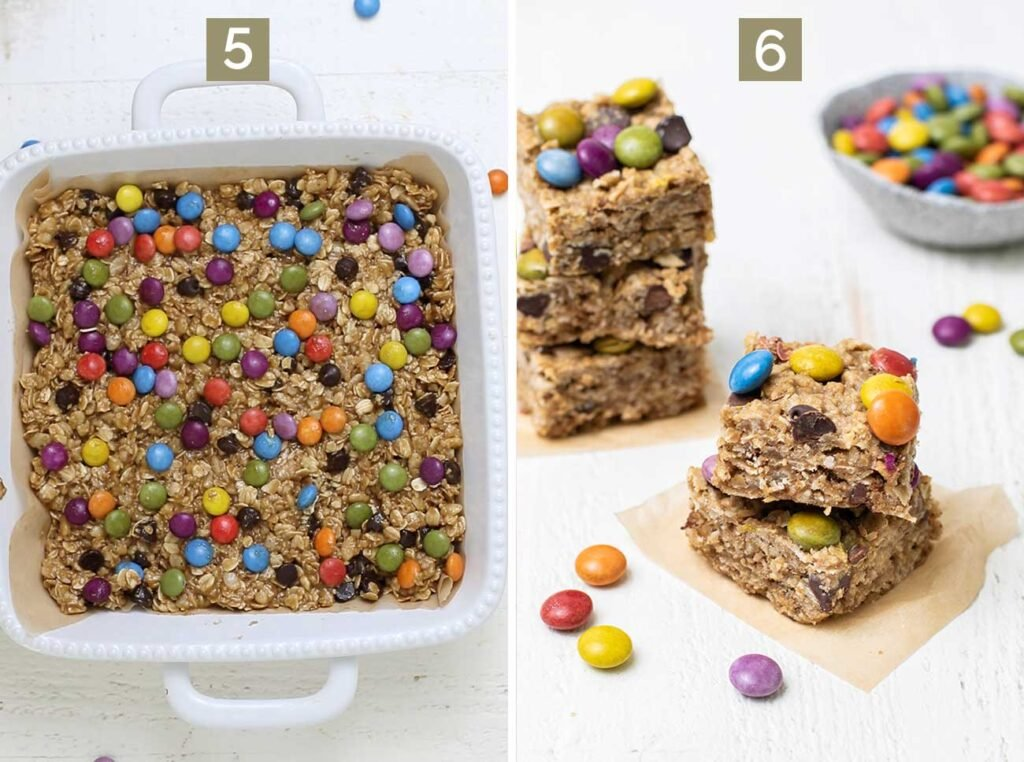 Step 5 shows pressing candy coated chocolates into the cookie dough, and step 6 shows baking the cookies and cutting them in squares.
