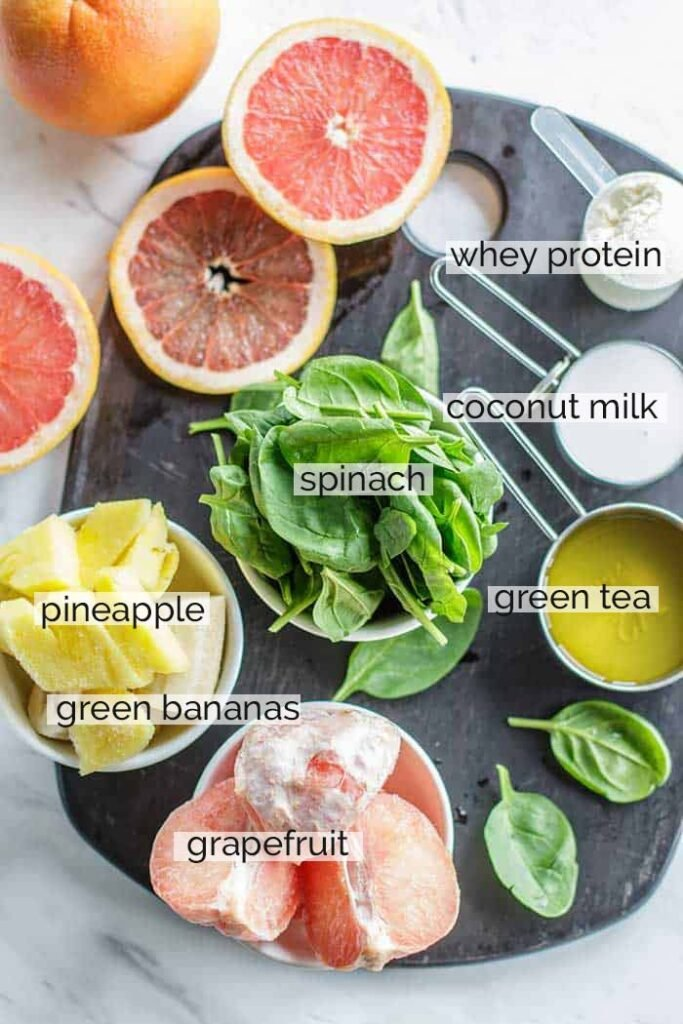 The ingredients needed to prepare a fat loss smoothie, shown labeled.