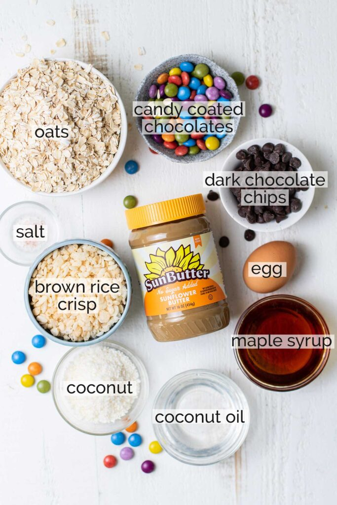 The ingredients needed to make monster cookie bars.