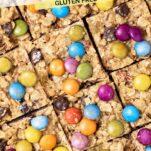 A close up look at bar cookies cut into squares.
