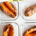 4 glass meal prep containers with sweet potatoes.